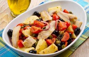 Salada quente de bacalhau