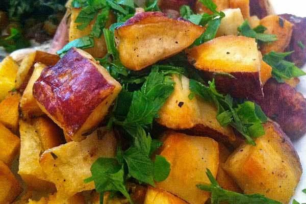 Receita de cubinhos dourados de batata-doce