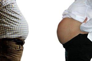 Pais podem engordar na gravidez